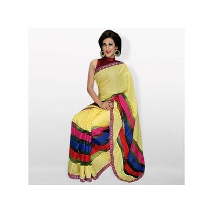 Picture of Yellow Cotton Silk Mixed Saree For Women