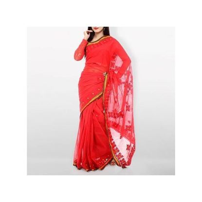 Picture of  Red Applique Cotton Saree For Women