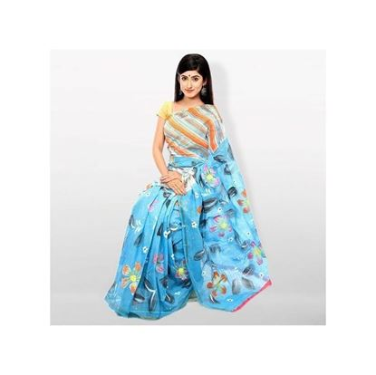 Picture of Sky Blue Cotton Kota Handprint Saree For Women