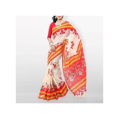 Picture of White and Red Cotton Kota Handprint Saree