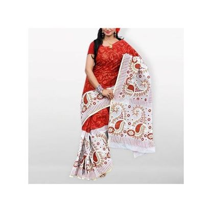 Picture of White and Red Skin Botiques Cotton Saree
