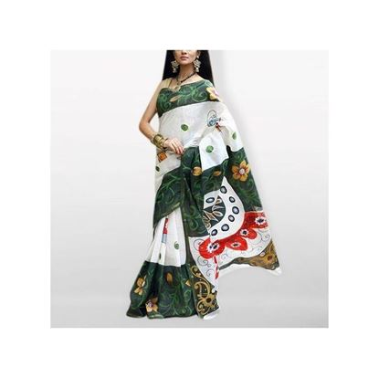 Picture of  White and Green Cotton Kota Handprint Saree