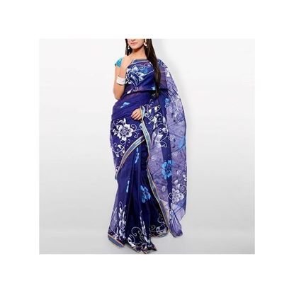 Picture of  Blue Cotton Kota Handprint Saree