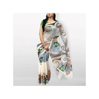 Picture of White Printed Cotton Kota Handprint Saree