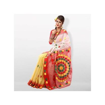 Picture of  Multicolor Pure Cotton With Cutwirk Applique Embroidery Saree