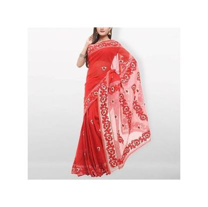 Picture of  Red Pure Cotton With Hand Embroidery Saree