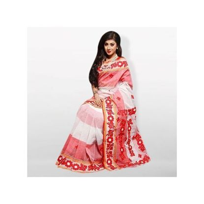 Picture of White and Red 2 Shed Cotton With Cutwork Applique Saree