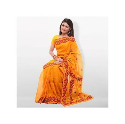 Picture of Orange Pure Cotton With Hand Embroidery Saree