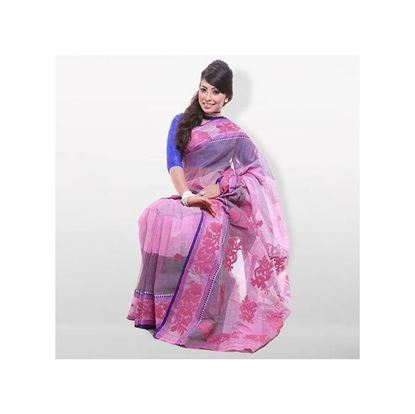 Picture of  Light Pink Pure Cotton With Hand Embroidery Saree