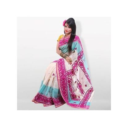 Picture of Multicolor Pure Cotton With Hand Embroidery Saree