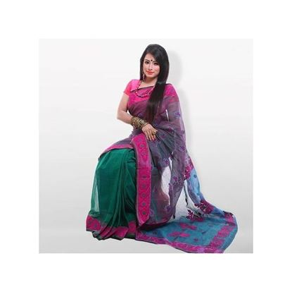 Picture of Multicolor 3Shed Pure Cotton With Hand Embroidery Saree