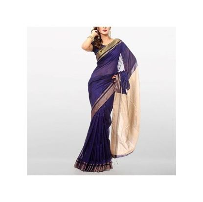 Picture of  Royal Blue Handloom Cotton Tant Saree