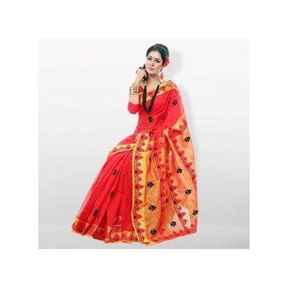 Picture of  Red and Orange Pure Cotton With Ambroidery and Applique Work Saree
