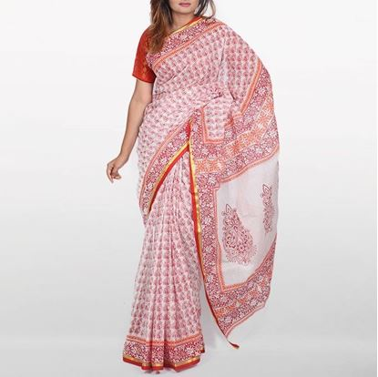 Picture of  Misty Rose and Red Cotton Saree