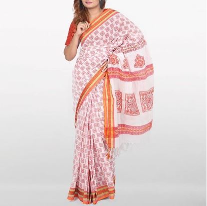 Picture of White Cotton Saree For Women