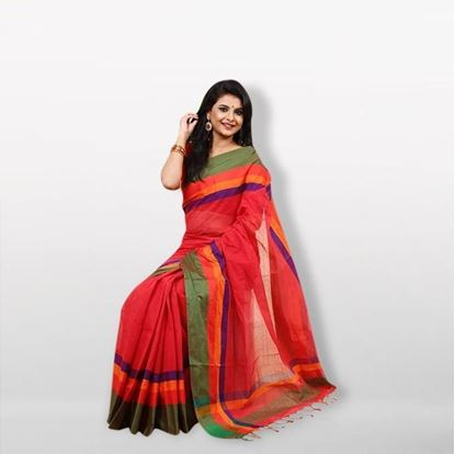 Picture of  Multicolor Pure Cotton Saree with Blouse