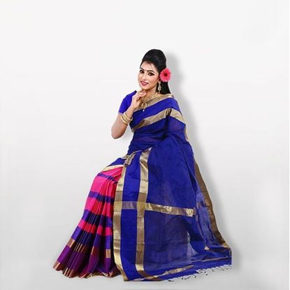 Picture of  Multicolor Pure Cotton Saree with Blouse For Women
