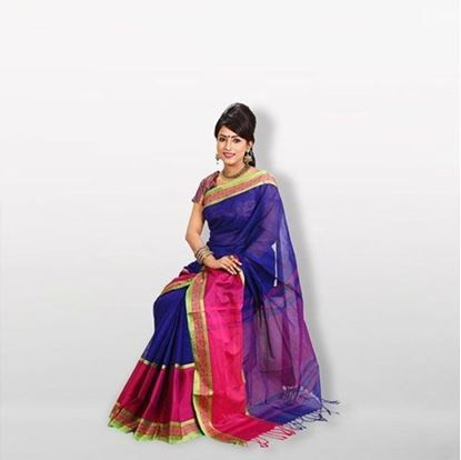 Picture of  Blue and Pink Cotton Saree For Women