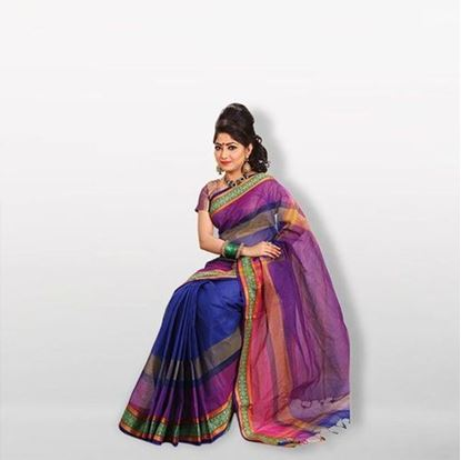 Picture of  Blue and Magenta Cotton Saree For Women