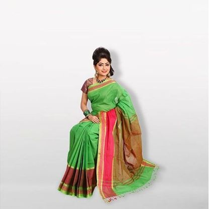 Picture of Green and Red Cotton Saree For Women