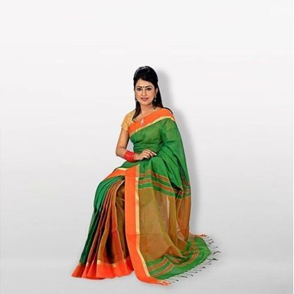 Picture of Geeen and Red Cotton Saree For Women