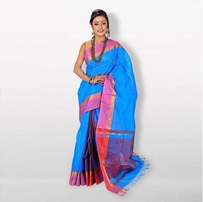Picture of  Sky Blue Cotton Saree For Women