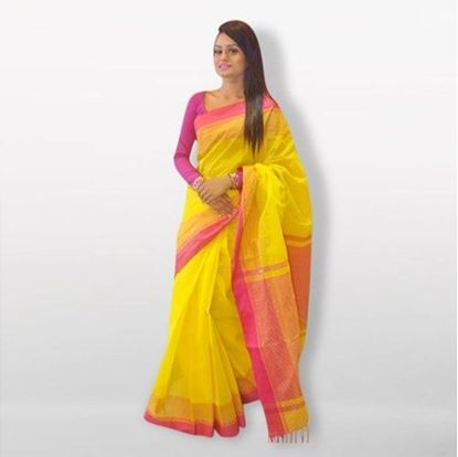Picture of Yellow and Pink Cotton Saree For Women