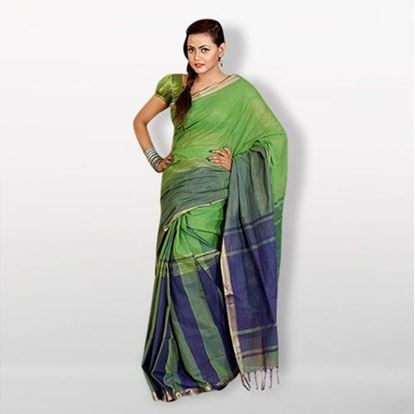 Picture of  Green and Blue Cotton Saree For Women