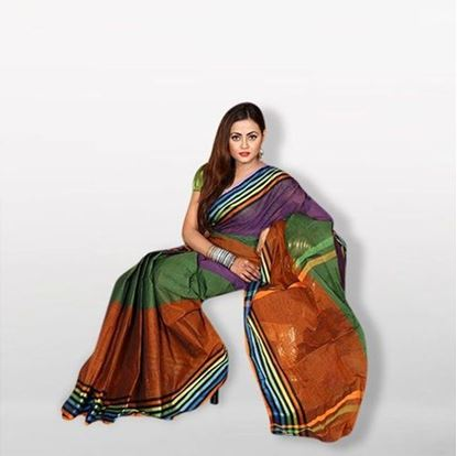 Picture of Sea Green Cotton Saree For Women