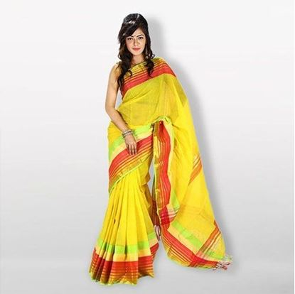 Picture of  Yellow Cotton Saree For Women