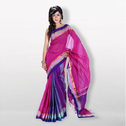 Picture of Magenta Cotton Saree For Women