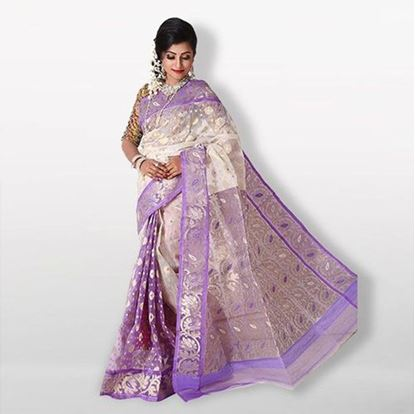 Picture of White and Purple Cotton Saree For Women