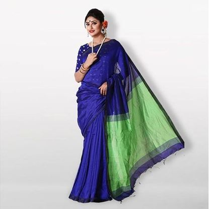Picture of  Blue and Green Cotton Saree For Women