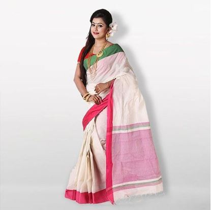 Picture of  White and Pink Cotton Saree For Women