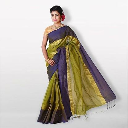 Picture of Olive and Navy Blue Cotton Saree