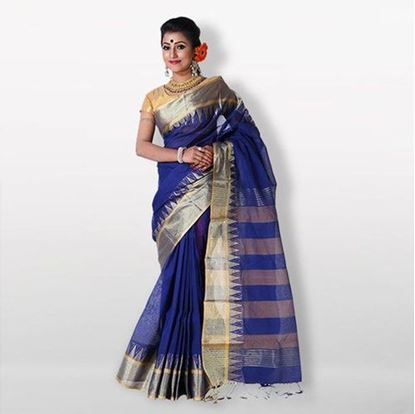 Picture of  Blue and Silver Cotton Saree For Women