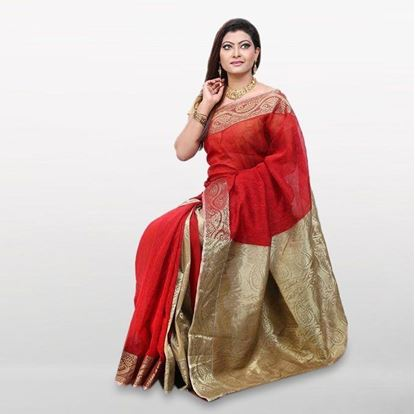 Picture of  Red and Gold Cotton Casual Saree