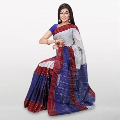 Picture of  Blue and Light Gray Cotton Casual Saree For Women