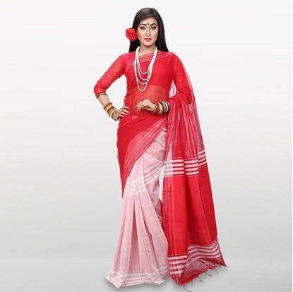Picture of  Red and White Cotton Casual Saree