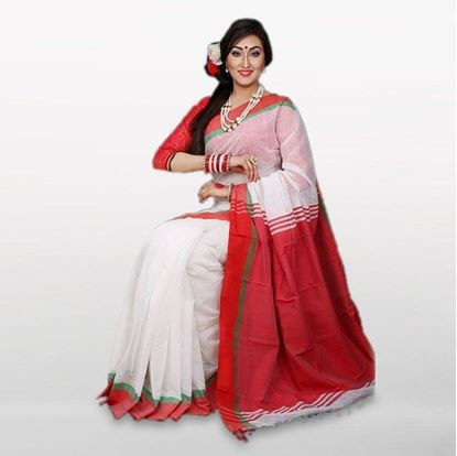 Picture of  White and Red Cotton Casual Saree