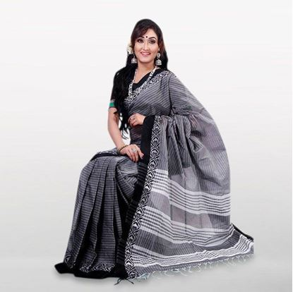 Picture of  Gray Cotton Casual Saree For Women