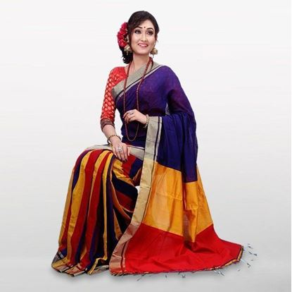 Picture of Color Cotton Casual Saree For Women