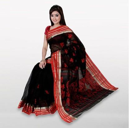 Picture of  Black Cotton Casual Saree For Women