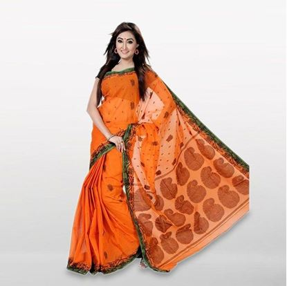 Picture of  Orange Cotton Casual Saree For Women