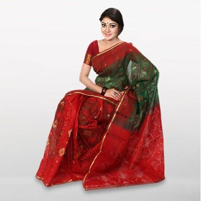 Picture of  Red and Green Cotton Casual Saree