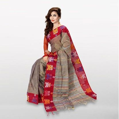 Picture of Gray and Red Cotton Casual Saree