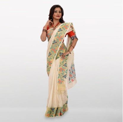 Picture of Off White Cotton Casual Saree For Women