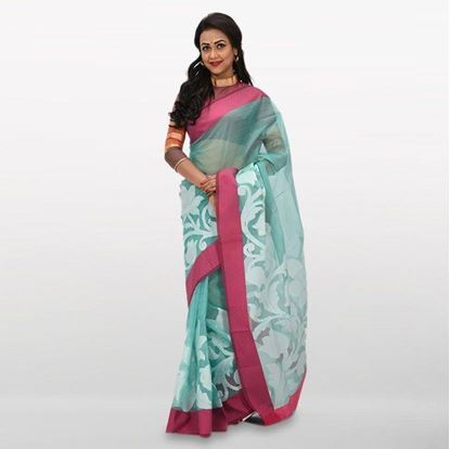 Picture of Medium Turquoise Cotton Casual Saree