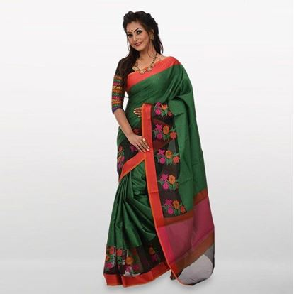 Picture of  Green Cotton Casual Saree