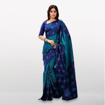 Picture of  Blue Cotton Casual Saree For Women